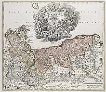 Homann, J. B Ducatus Pomeraniae novissima tabula. Kupferstichkarte, koloriert. Nürnberg, 1712. 49,3 x 58 cm (52,3 x 62,3 cm).