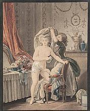 Huet, Jean Baptiste L'Heureux Chat. Farblitho nach dem Punktierstich von Bonnet. 30,5 x 21,5 cm. (wohl) 19. Jh. Unter Glas gerahmt.