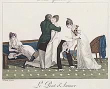 Le Bon Genre. Sammlung von 65 Tafeln in Faksimile nach der Ausgabe von 1827, handkoloriert von Saudé. Paris, Levy, 1928-1931. Folio. Meist unter Passepartout.