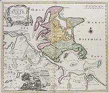Insulae et Principatus Rugiae cum vicinis Pomeraniae Littoribus Nova Tabula. Teilkol. Kupferstichkarte. Nürnberg, Joh. Bap. Homann, um 1720. 49 x 58 cm (54 x 62 cm).