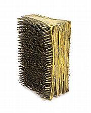 Benes, Barton Lidice Nagelbuch. 1974. Buch mit applizierten Nägeln, schwarz-gelb gefasst. 18,5 x 14 x 10 cm. Signiert