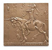 Sammlung von 6 Plaketten mit Figuren aus der deutschen Märchen- und Sagenwelt. Bronze. 4,3 x 5,4 cm bis 6,2 x 16,5 cm.