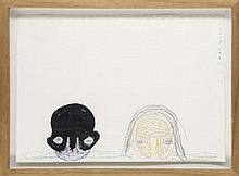 Kato, Izumi o.T. (Zwei Köpfe). 2005. Mischtechnik (Faserstift, farbige Kugelschreiber und Graphitstift) auf Papier (am oberen Rand mit Lochstanzungen). 18,2 x 25,2 cm. Signiert