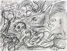 Höckelmann, Antonius o.T. (Turf). 1992. Graphitstift auf festem Papier. Signiert und datiert. - An den oberen Ecken auf Unterlage montiert. An den Blattkanten teils geringe Bräunungsspuren sowie wenige Löchlein von Reißzwecken.