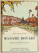 Flaubert Bovary HandeinbandWith illustrated title and numerous Pochoir-Illustrations by Pierre Rousseau. Handbound mosaicked half chagrin leather in red and brown tones. (partly rubbed, bumped, stained and chafed). - 1 of 965 copies. One of the first