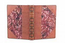 Daudet SapphoWith 1 etching by Leroux and 61 (thereof 15 in pochoir. Plates. - Oldpink morocco on 5 raised bands with marbled paper and big leather edges (signed) (minimally rubbed). The plates partly with luminous colouring. - With fine