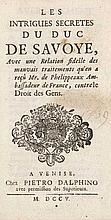 (Freschot, Casimir) Les intrigues secretes du Duc de Savoye. Mit 1 Titelvign. Venedig, Dalphino, 1705. 150 S. 12°. Pp. d. Zt. (berieben).