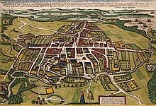 Civitatis Episcopalis Othenarum sive Otthoniae ... Kol. Kupferstich aus Braun u. Hogenberg, um 1600. Plattenmaße ca. 31,5 x 47 cm.