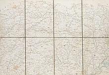 Floder, A. (Lithograph) Strassen-Karte des Koenigreiches Ungarn. Wien, A. Floder, 1832. ca. 130 x 190 cm, unterteilt in 9 teilkolorierte Kartenteile zu mehreren Segmenten im OPpSchuber.