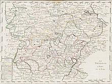 Konvolut von 40 grenzkolorierten Kupferstichkarten des 18. Jh., darunter Doubletten. 8° bis 4°. Unter Passepartout.