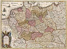 Novus et Accuratus Utriusque Germaniae Typus. Ex vera graduum longitudinis et latitudis dimensione locorumque distantia Correctis erronibus confectis. Kol. Kupferstichkarte. Frankfurt, Merian, 1633. Kartenmaße ca. 33 x 45 cm.