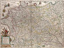 Germaniae nova et accurata delineatio. Teilkol. Kupferstichkarte mit kol. Titelkartusche. Amsterdam, Hondius, 1631. Plattenmaße ca. 35 x 48 cm.