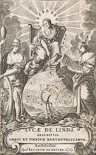 Linda, Lucas de Descriptio Orbis & omnium ejus Rerumpublicarum ... Mit Holzschn.-Druckermarke. Amsterdam, De Zetter, 1665. 7 Bll., 1156 S., 6 Bll. Pgt. d. Zt (etwas fleckig, Gelenke etwas eingerissen).