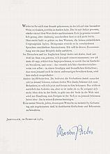 Umfangreiche Sammlung von ca. 60 Exponaten (Briefe, Karten, signierte Photographien, teils aufgezogene Zeitungsausschnitte und Briefumschläge von Preisträgern der Jahre 1950-1993. Montiert und eingesteckt in A4 Hüllen, dort geheftet.