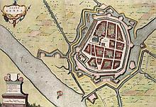Rheno Berka. Kol. Kupferstichkarte von F. de Wit. Aus: Pieter van der Aa: La Galerie Agreable Du Monde ... Amsterdam, 1729. Plattenmaße ca. 36,5 x 51,5 cm.