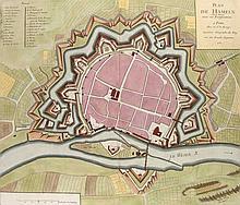 Plan de Hameln avec ses Fortifications. Plan aus der Vogelschau. Kol. Kupferstich von le Rouge. Paris, G.-L. le Rouge, 1757. Plattenmaße ca. 49 x 57 cm.