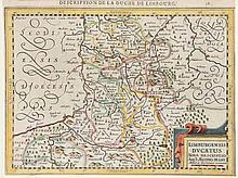 Konvolut von 20 meist grenzkolorierten Kupferstichkarten des 18. Jh., darunter Doubletten. 8° bis 4°. Unter Passepartout.