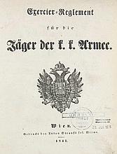 Exercier-Reglement für die Jäger der K.K. Armee. Mit 27 (von 31) gefalt. Plänen. Wien, Strauß, 1841. 140 S. 4°. HLdr. d. Zt. mit verg. RTitel (etwas berieben, ob. Kapital etwas lädiert).