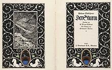 Shakespeare, Willim Der Sturm. Übersetzt von A.W. von Schlegel. Mit Buchschmuck von K. Köster u. 40 mont. Farbtafeln nach E. Dulac. München, Bruckmann, 1912. 2 Bll., 128 S., 1 Bl. 4°. Gold- u. schwarzgepräg. OPgt. mit Deckelvign. u.
