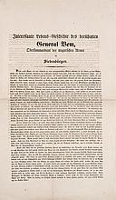 Interessante Lebens-Geschichte des berühmten General Bem, Oberkommandant der ungarischen Armee in Siebenbürgen. (1849). 1 Bl., gefaltet. 40,5 x 24 cm.