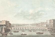 Alix, Pierre Michel Vue du Pont de Westminster. Kolorierte Aquatinta-Radierung. In der Velegeradresse bezeichnet