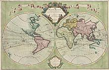 Mappe-Monde. Dreßé sur les Observations de M.rs de l'Academie Royale des Sciences. Kol. Kupferstichkarte von G. de l'Isle. Paris, chez l'Auteur Rue des Canettes pres de St. Sulpice, dat. 1700. Plattenmaße ca. 44 x 67 cm.