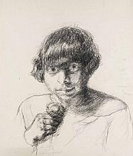 Meidner, Else Selbstpoträts und Studie. 1926. Konvolut aus 3 Werken. Kohle auf Velin. 51,2 x 46 cm bis 59,2 x 46 cm. Mit dem Mädchennamen Else Meyer bezeichnet und signiert. Eine Arbeit mit