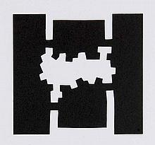 Chillida, Eduardo o.T. (1980). Lithographie mit Prägung auf glattem Papier. 10 x 10,7 cm (38 x 27,6 cm).