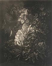 Bartning, Ludwig Bouquet. 1923. Mezzotinto auf chamoisfarbenem Papier. Signiert, datiert. - Unter Passepartout und unter Glas gerahmt.