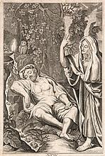 Amling, Carl Gustav  Nacht. Kupferstich nach Peter Candid, 1698. Plattenmaße 26,6 x 16,3 cm. Montiert auf Karton.