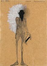 Neumann, Max  o.T. (Mann mit Buch). 1984. Bleistift und Gouache mit Deckweiß gehöht auf braunem Transparentpapier. 25,8 x 18,3 cm. Signiert und datiert