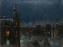 Fischer, Thomas  Schfall in München bei Nacht. Öl auf Leinwand. 52 x 68 cm. Signiert