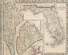 County Map of Florida (mit Nebenkarten: County Map of North Carolina u. Map of South Carolina). Kol. Lithographie. Von Samuel Augustus Mitchell, 1860. 29,5 x 36 cm. - Unter Glas gerahmt.