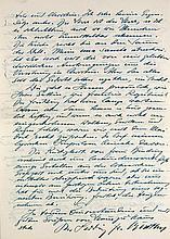 Barthel, Ludwig Friedrich  Zwei eigenh. 4-seitige Briefe mit Unterschrift an einen Erich Kaufmann, München, 5. Dez. 1957 und München, 30. Mai 1958. Je 2 beidseitig beschr. Bll. 4°.