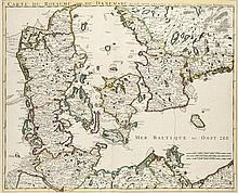 Carte du Royaume de Danemarc. Par Guill. De l'Isle à Amsterdam chez Jean Covens et Corneille Mortier. Grenzkol. Kupferstichkarte. Um 1710. Plattenmaße ca. 49 x 60,5 cm.