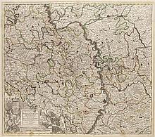 Electoratus et Palatinatus ad Rhenum, Episcopatum Vormarciensis et Spirensis Ducatuum Bipontini et Simmerae ... Grenzkol. Kupferstichkarte. Amsterdam, Ottens, um 1740.