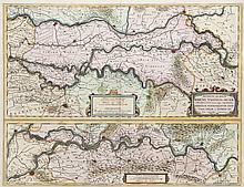 Descriptio Fluminum Rheni, Vahalis et Mosae a Rheno Berca ad Goricomium ... Kol. Kupferstichkarte. Amsterdam, Hondius, um 1642. Plattenmaße ca. 38 x 49,5 cm.