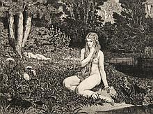 Klinger, Max  Eva und die Zukunft. Opus III. Bl. 1 (von 6): Eva. Radierung auf Karton. Um 1900. Ca. 17 x 22,5 cm. Plattenmaße ca. 21 x 25 cm, Blattmaße ca. 44 x 60 cm.