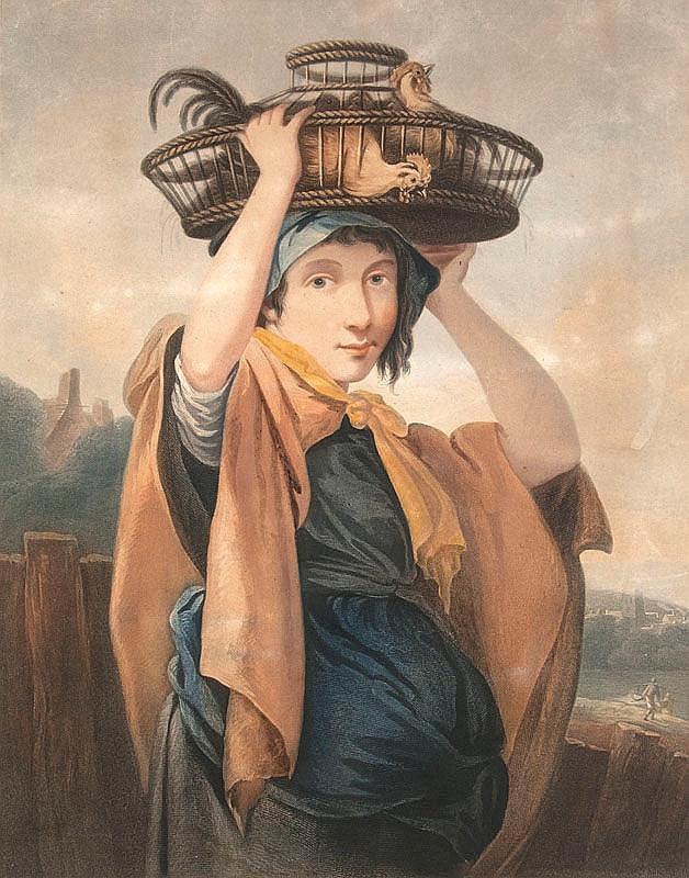 Gaugain, Thomas  A Girl Going to Market u. A Boy Returning From Fishing. 2 kol. Kupferstiche nach Thomas Barker. London, Testolini, 1800. Plattenmaße ca. 53 x 40 cm. Unter Passepartout montiert.
