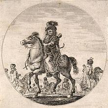 della Bella, Stefano  Ungarischer Reiter. Radierung. Plattenmaße ca. 17,5 x 17,5 cm. Montiert auf Karton.