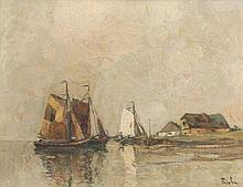 Priebe, Rudolf  Fischerboote am Ufer. 20. Jh. Öl auf Leinwand. 34 x 43 cm. Sign. - Gerahmt (Maße mit Rahmen 50 x 60 cm). Minimale Altersspuren.