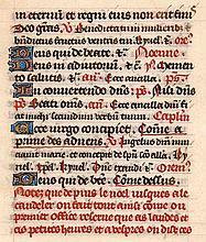 Stundenbuchblatt auf Pergament. Mit 5 goldgehöhten