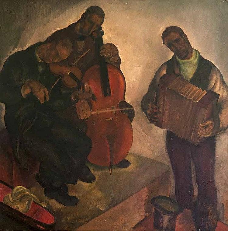 Carte, Anto Die Musiker. Um 1920. Öl auf