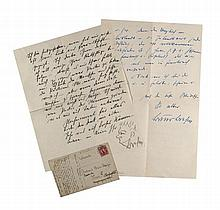 Brehm, Bruno 3 eigenh. Briefe von 1931, 1939 und 1943. Briefe von 1931 u. 1939 je 2-seitig, der Brief von 1943 1-seitig. 1 Brief mit kleiner Skizze. Alle 3 Briefe an den Schriftsteller Herbert Günther. - 1 Postkarte von 1916 an Leutnant B. Brehm und