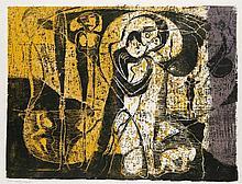 Huniat, Günther Des nachts, immer/Sichtbar, unsichtbar/Fann taucht auf/Ausstellungsplakat. 1973-1977. Konvolut aus 4 Werken. Farbholzschnitte auf verschiedenen Papieren. Blattmaße von 37,5 x 50,5 cm bis 67,5 x 51 cm. Je signiert, datiert, betitelt