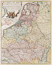 Le Cours du Rhein, de la Meuse, de la Moselle, de la Sarre, de la Lis, et de l'Escaut ... Par N. de Fer. Kol. Kupferstichkarte von C. Inselin. Paris, dat. 1705. Plattenmaße ca. 55,5 x 43,5 cm.