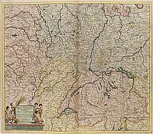Accuratissima Rheni Superioris Mosae et Mosellae Tabula ... Per Theodorum Danckerum. Kol. Kupferstichkarte. Amsterdam, um 1690. Plattenmaße ca. 51 x 58 cm.