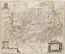Comitatus Glatz. Grenzkol. Kupferstichkarte von J. Scultetus. Amsterdam, Hondius, um 1640. Plattenmaße ca. 38,5 x 46,5 cm.