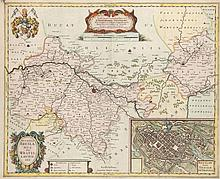 Ducatus Breslanus sive Wratislaviensis. Kol. Kupferstichkarte von G. Vechner u. J. Scultetus. Amsterdam, Hondius, um 1630. Plattenmaße ca. 41 x 50 cm.