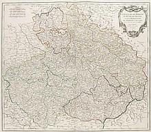 La Royaume de Boheme, le Duché de Silesiae, et les Marqisats de Moravie et Lusace. Grenzkol. Kupferstichkarte von Gilles Robert De Vaugondy. Paris, dat. 1751. Plattenmaße ca. 50 x 58 cm.